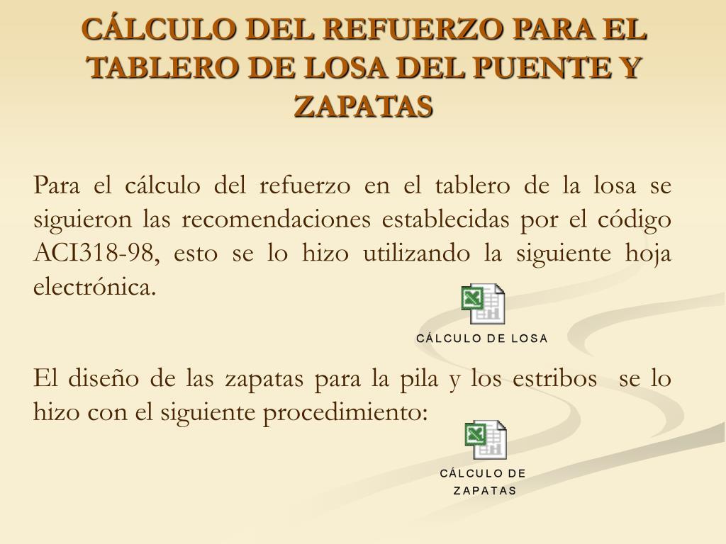 CÁLCULO DEL REFUERZO PARA EL TABLERO DE LOSA DEL PUENTE Y ZAPATAS