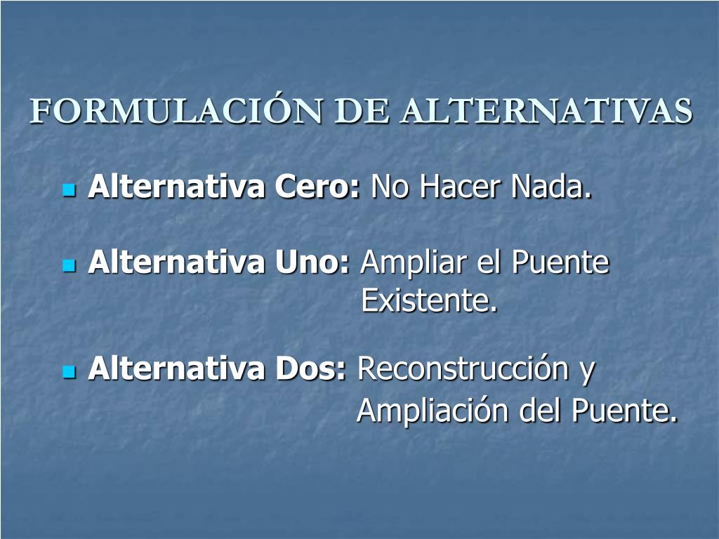 FORMULACIÓN DE ALTERNATIVAS