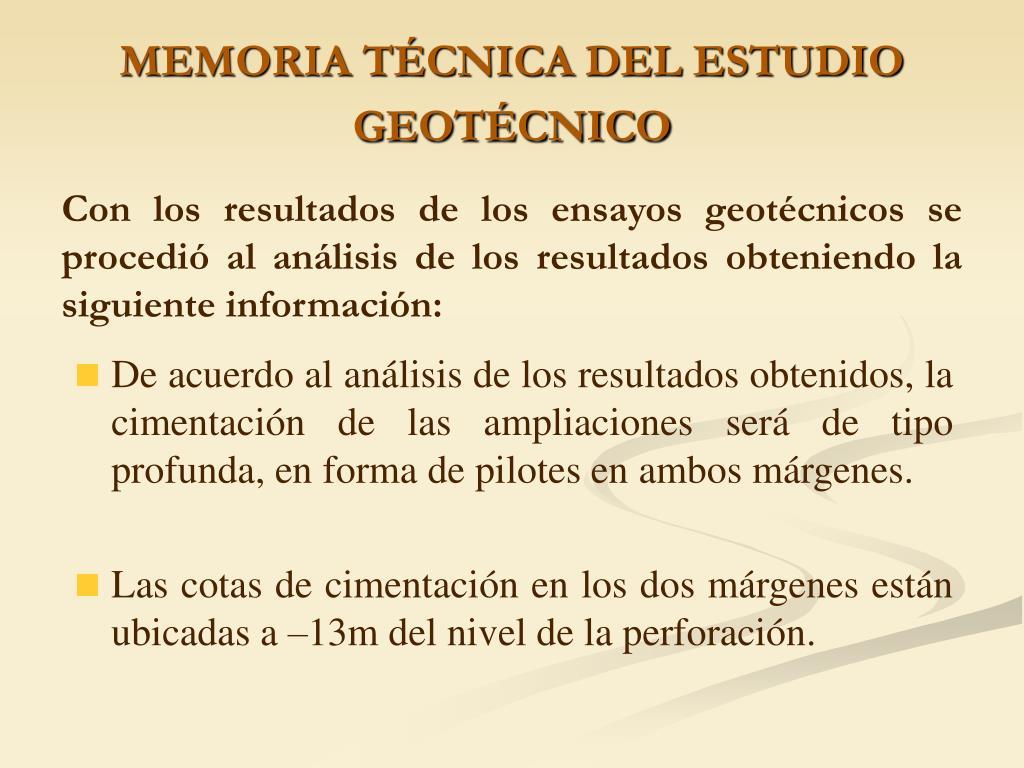 MEMORIA TÉCNICA DEL ESTUDIO GEOTÉCNICO