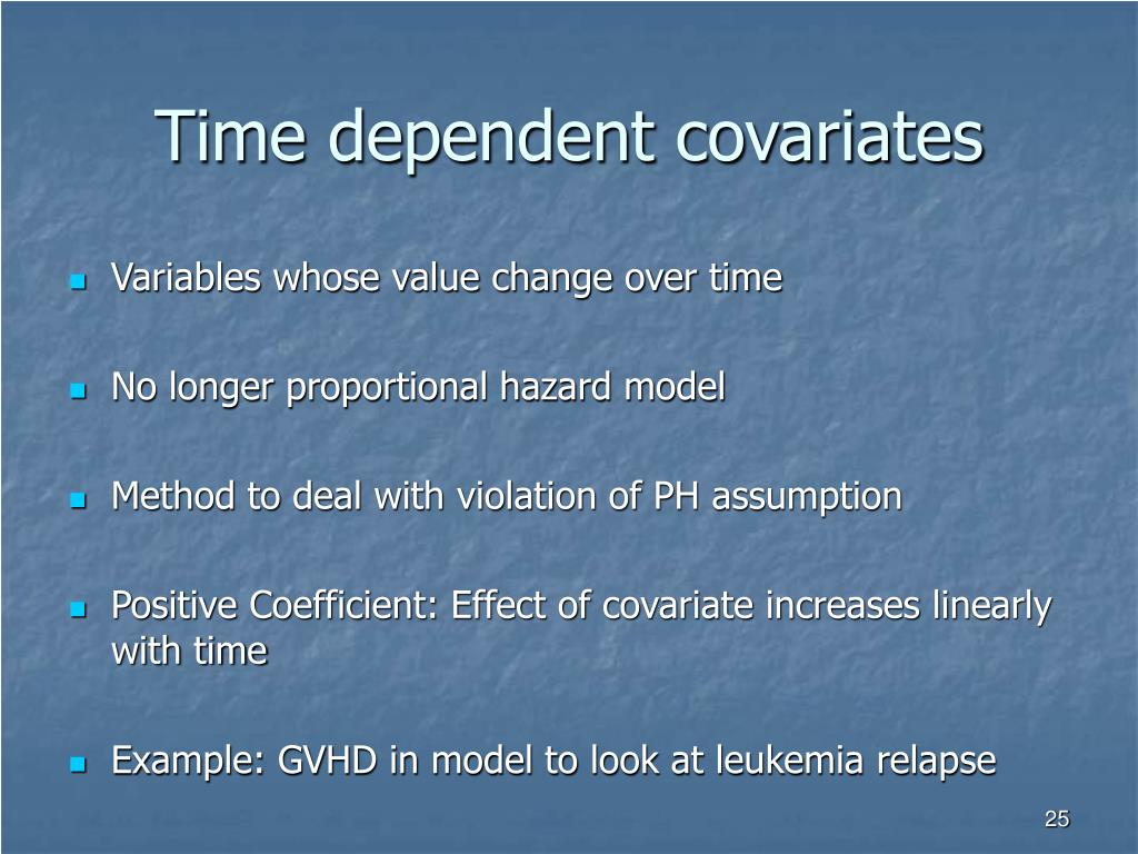 Time dependent covariates