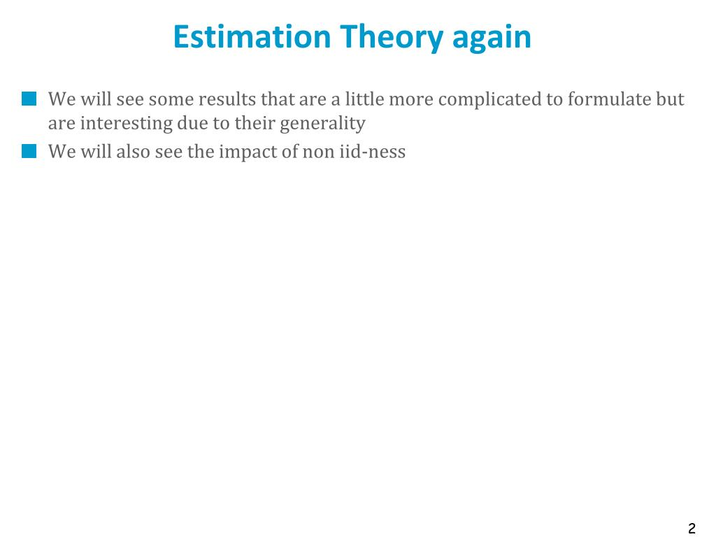 Estimation Theory again