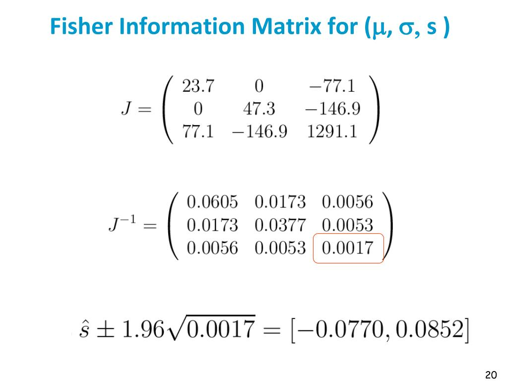 Fisher Information Matrix for (