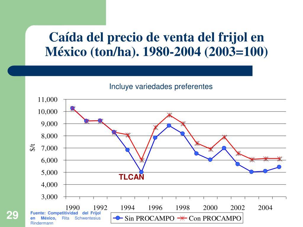 Caída del precio de venta del frijol en México (ton/ha). 1980-2004 (2003=100)