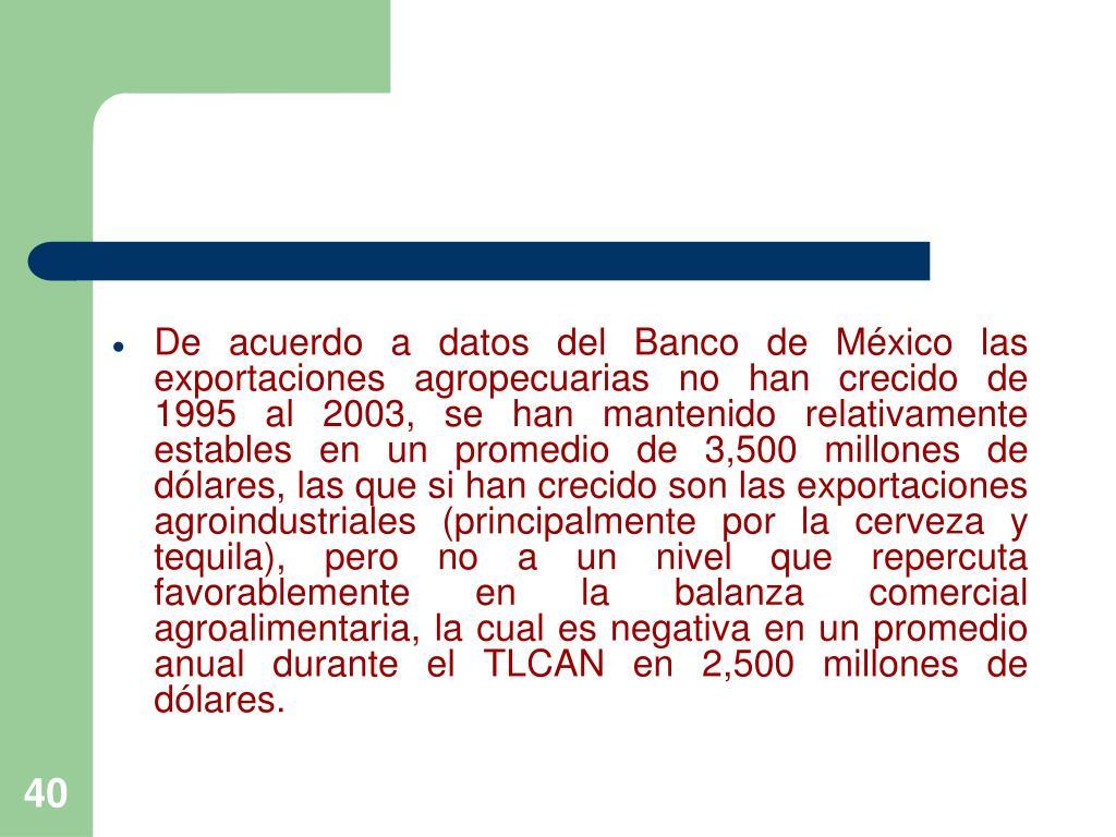 De acuerdo a datos del Banco de México las exportaciones agropecuarias no han crecido de 1995 al 2003, se han mantenido relativamente estables en un promedio de 3,500 millones de dólares, las que si han crecido son las exportaciones agroindustriales (principalmente por la cerveza y tequila), pero no a un nivel que repercuta favorablemente en la balanza comercial agroalimentaria, la cual es negativa en un promedio anual durante el TLCAN en 2,500 millones de dólares.