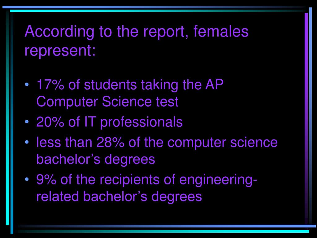 According to the report, females represent: