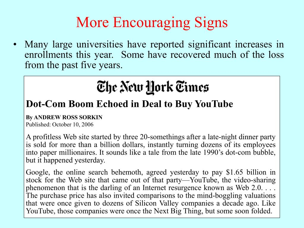 Dot-Com Boom Echoed in Deal to Buy YouTube