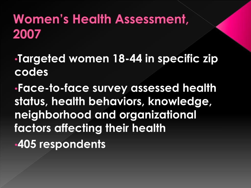 Women's Health Assessment, 2007