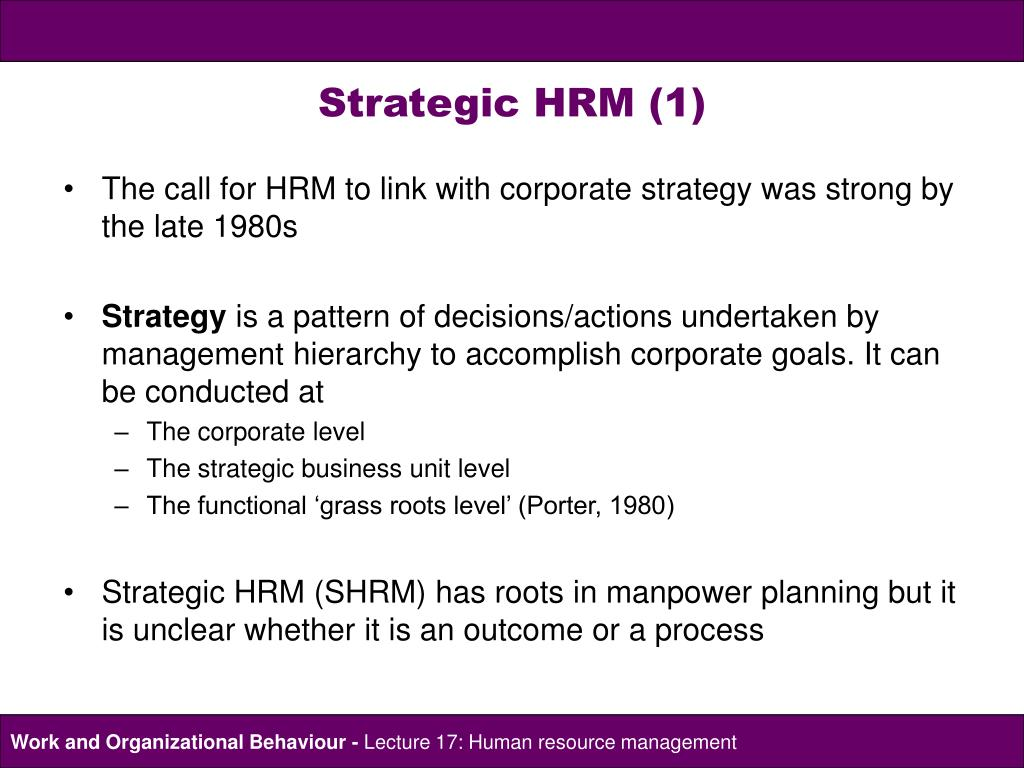 the link between corporate strategies and human resource management hrm