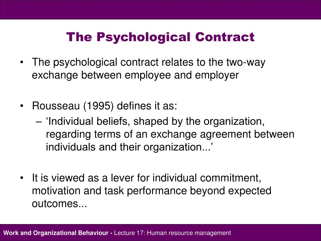 psychological contract theories of managing The psychological contract describes  the factsheet also considers the role of hr in managing the psychological contract  understanding psychological.
