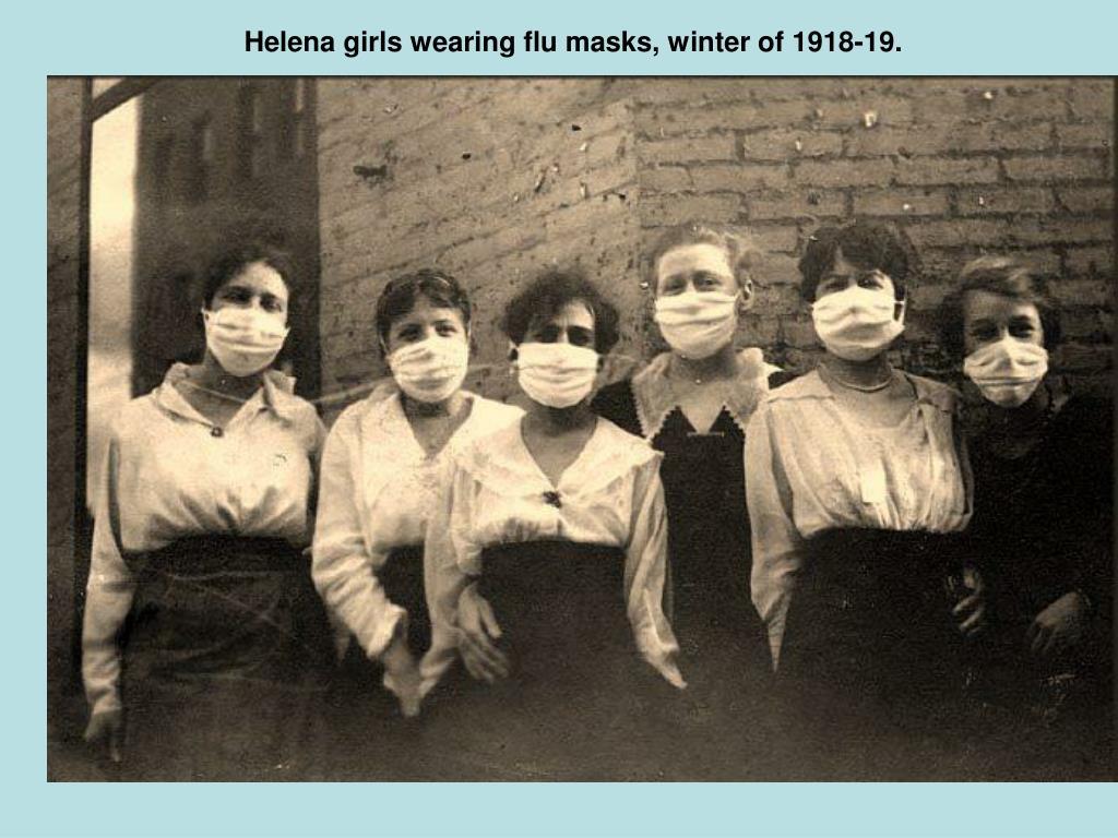 Helena girls wearing flu masks, winter of 1918-19.