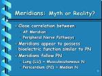 meridians myth or reality