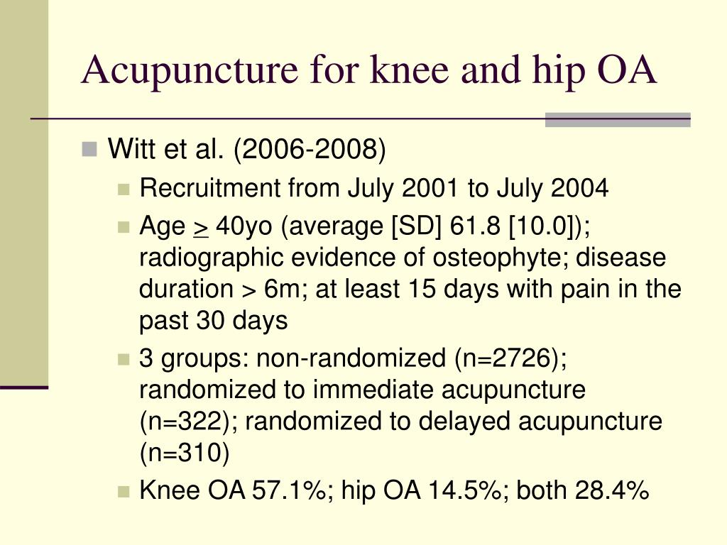 Acupuncture for knee and hip OA