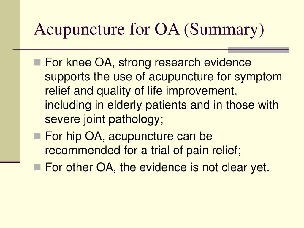 Acupuncture for OA (Summary)