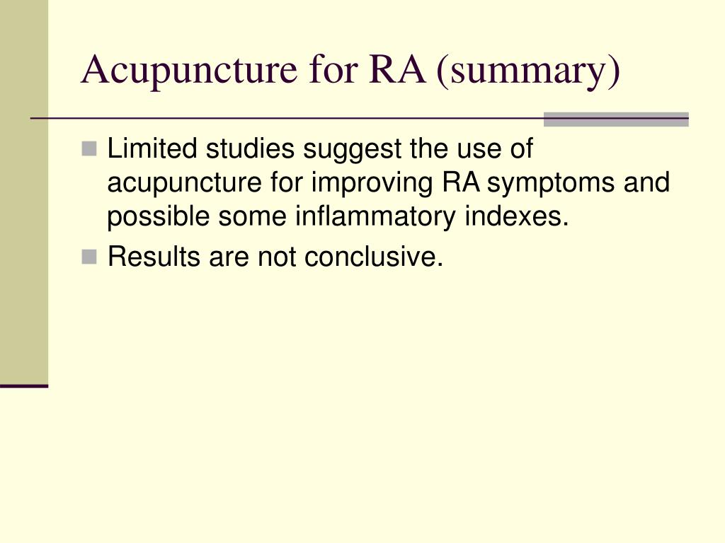 Acupuncture for RA (summary)