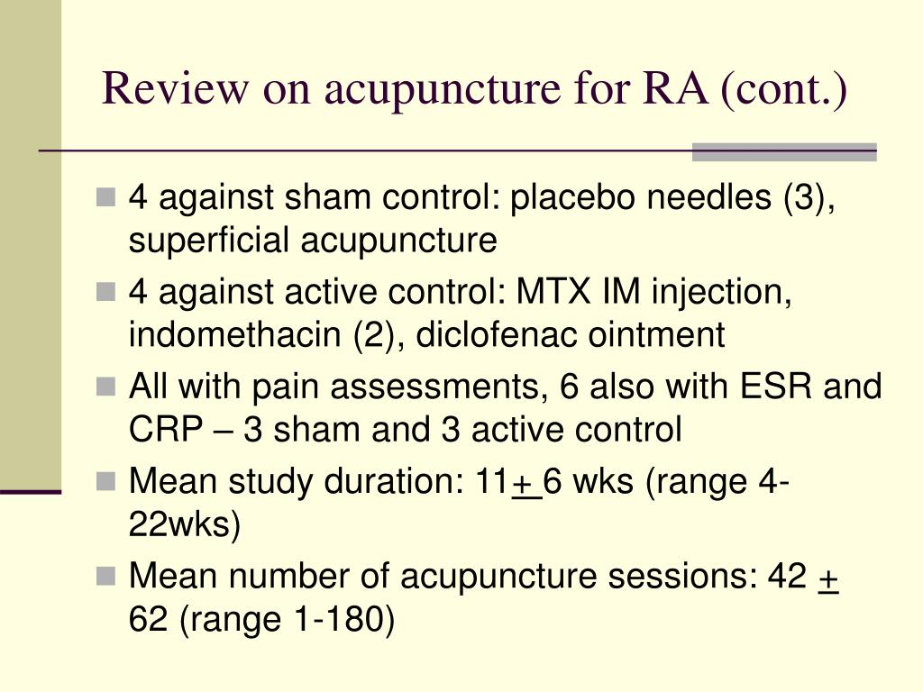 Review on acupuncture for RA (cont.)