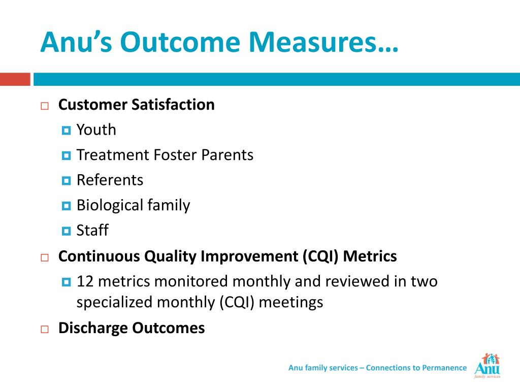Anu's Outcome Measures…