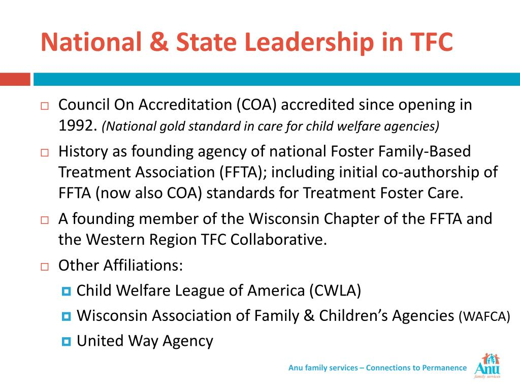 National & State Leadership in TFC