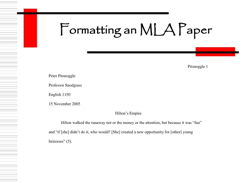 Formatting an MLA Paper