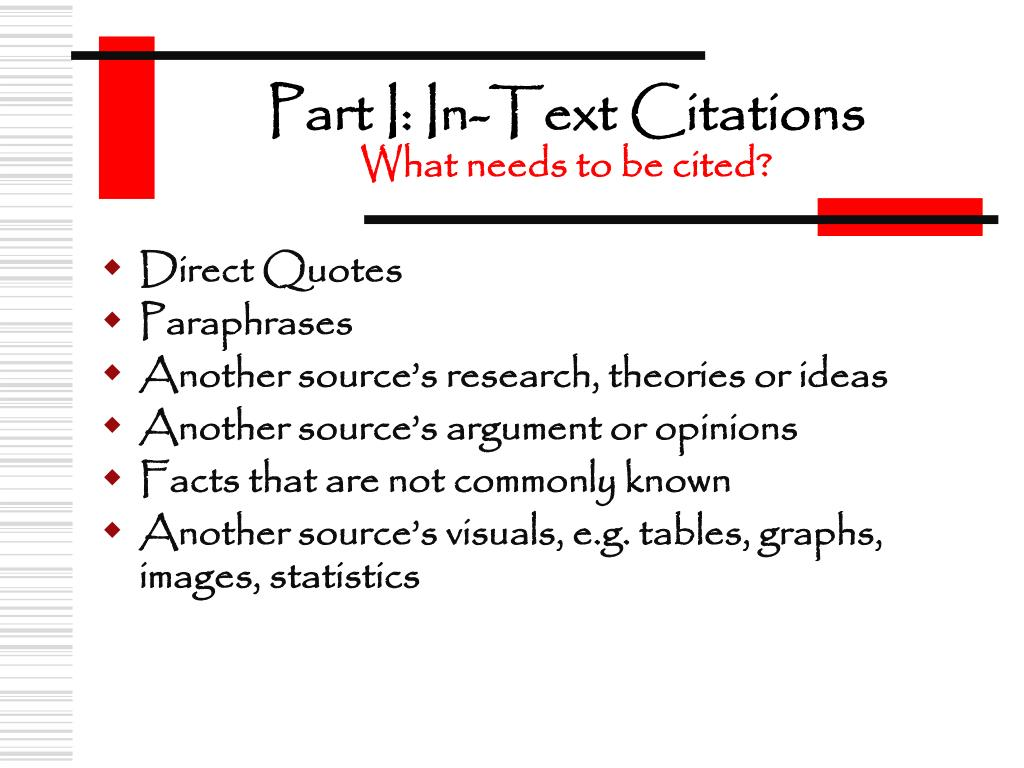 Part I: In-Text Citations