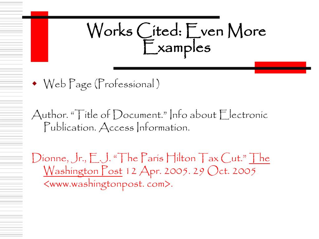 Works Cited: Even More Examples