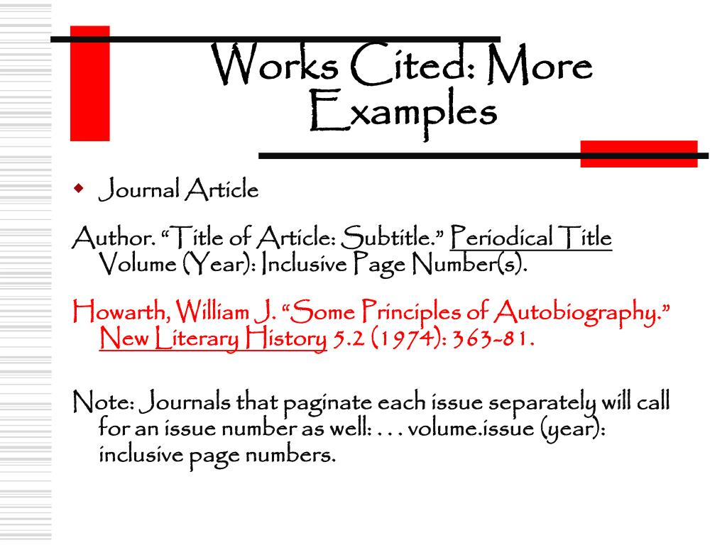 Works Cited: More Examples