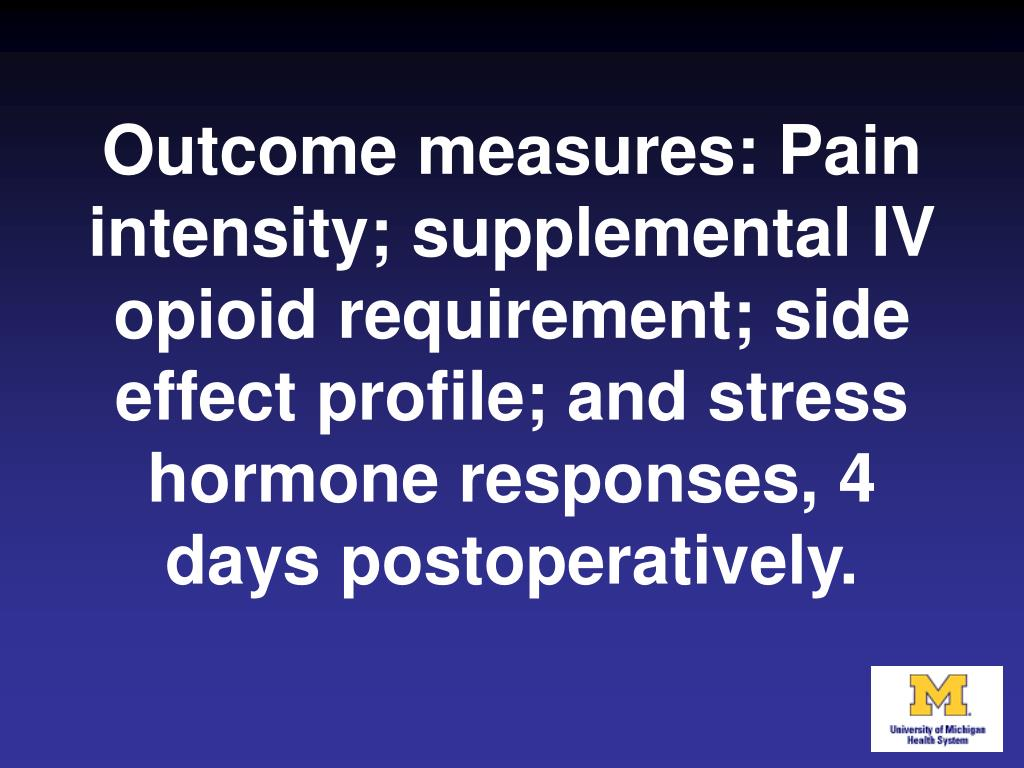 Outcome measures: Pain intensity; supplemental IV opioid requirement; side effect profile; and stress hormone responses, 4 days postoperatively.