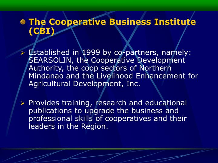 The Cooperative Business Institute (CBI)