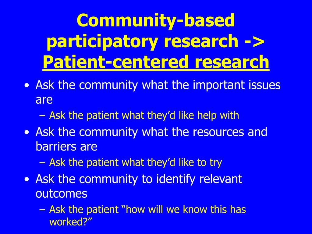 Community-based participatory research ->