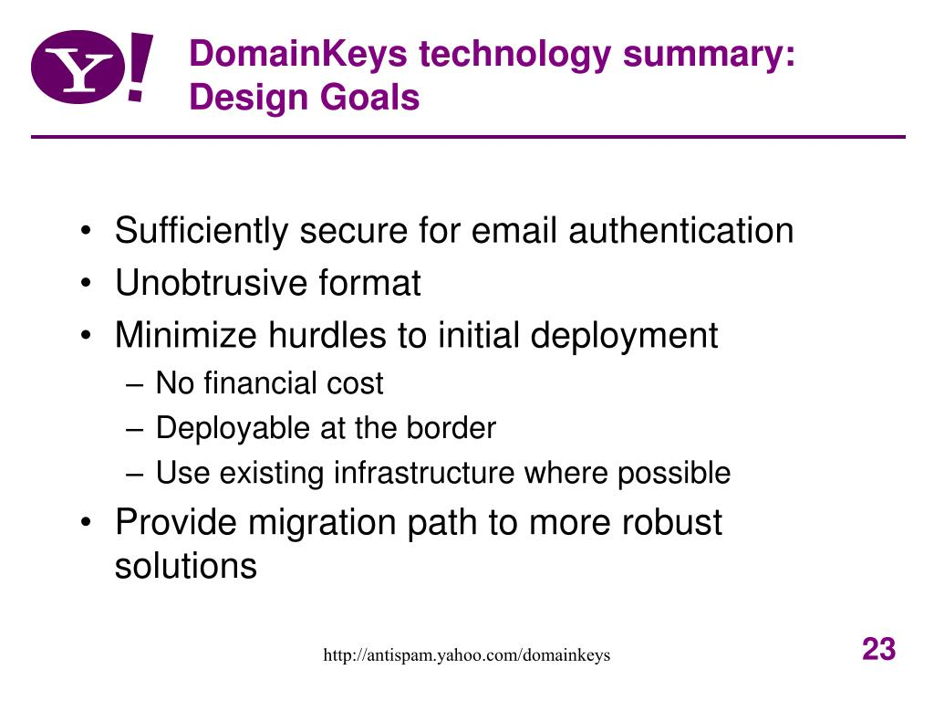 DomainKeys technology summary: Design Goals