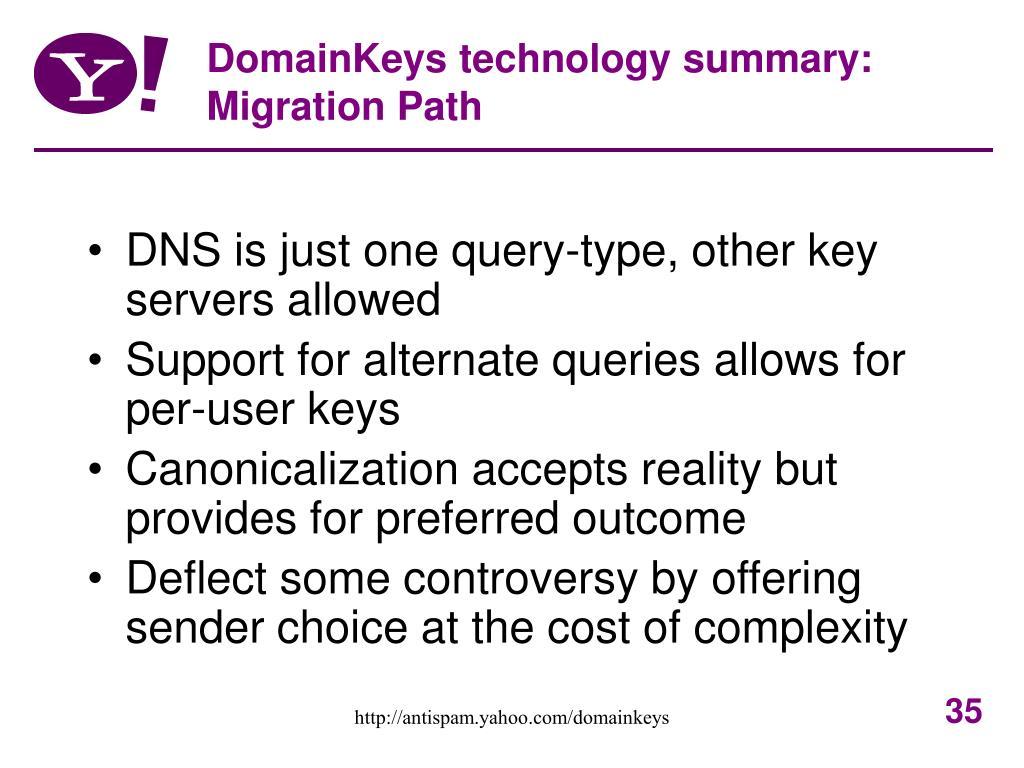 DomainKeys technology summary: Migration Path