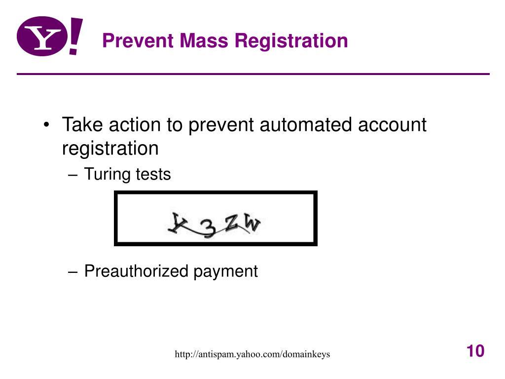 Prevent Mass Registration