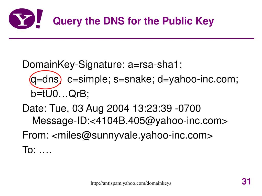 Query the DNS for the Public Key