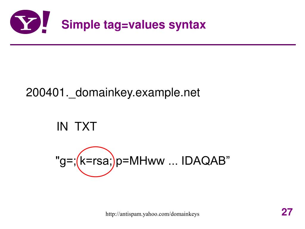 Simple tag=values syntax