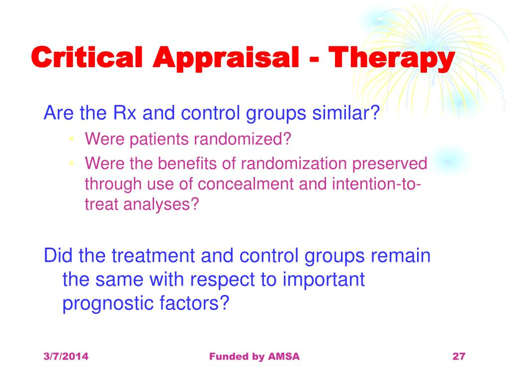 Critical Appraisal - Therapy
