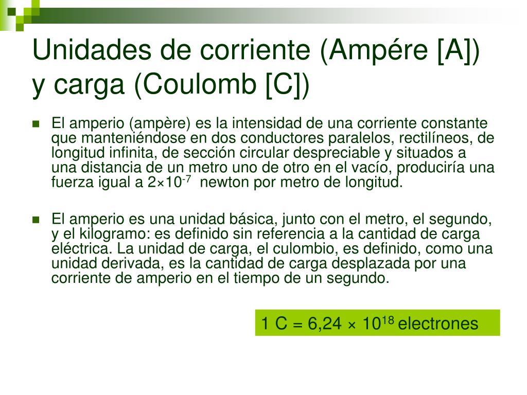 Unidades de corriente (Ampére [A]) y carga (Coulomb [C])