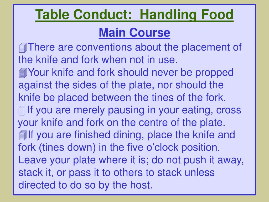 Table Conduct:  Handling Food