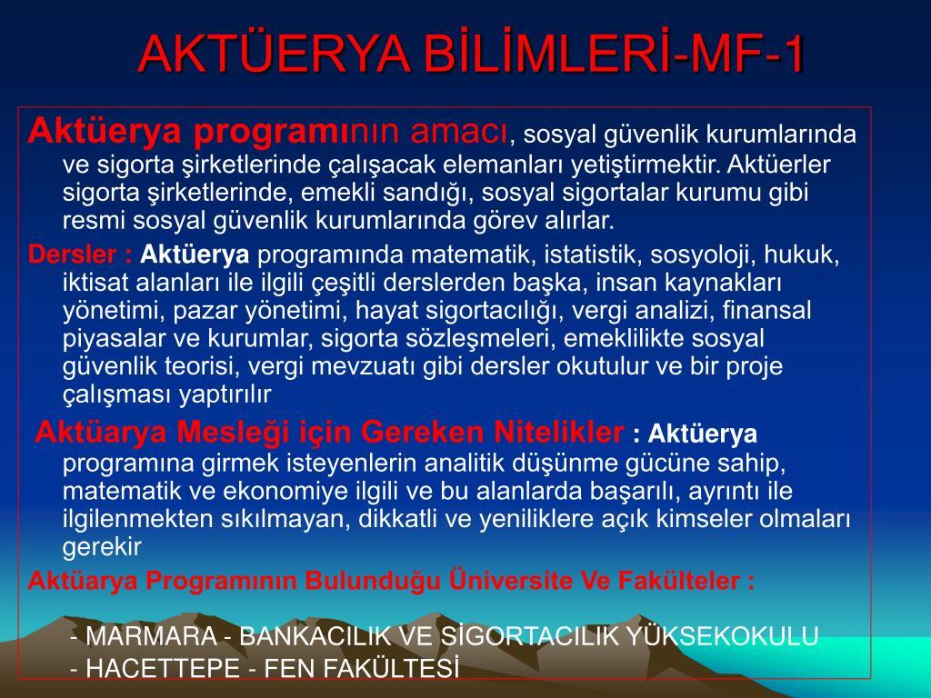 AKTÜERYA BİLİMLERİ-MF-1