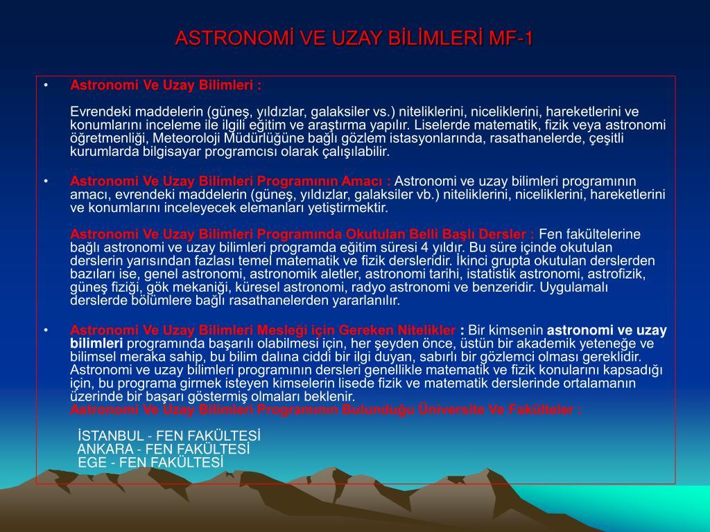 ASTRONOMİ VE UZAY BİLİMLERİ MF-1