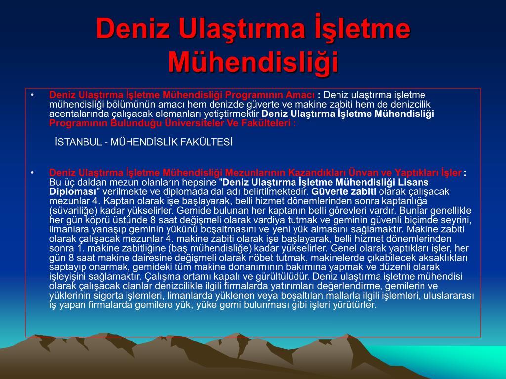 Deniz Ulaştırma İşletme Mühendisliği