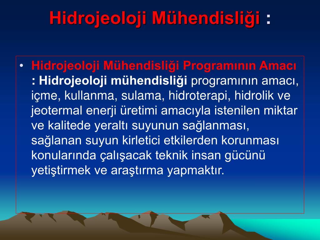 Hidrojeoloji Mühendisliği