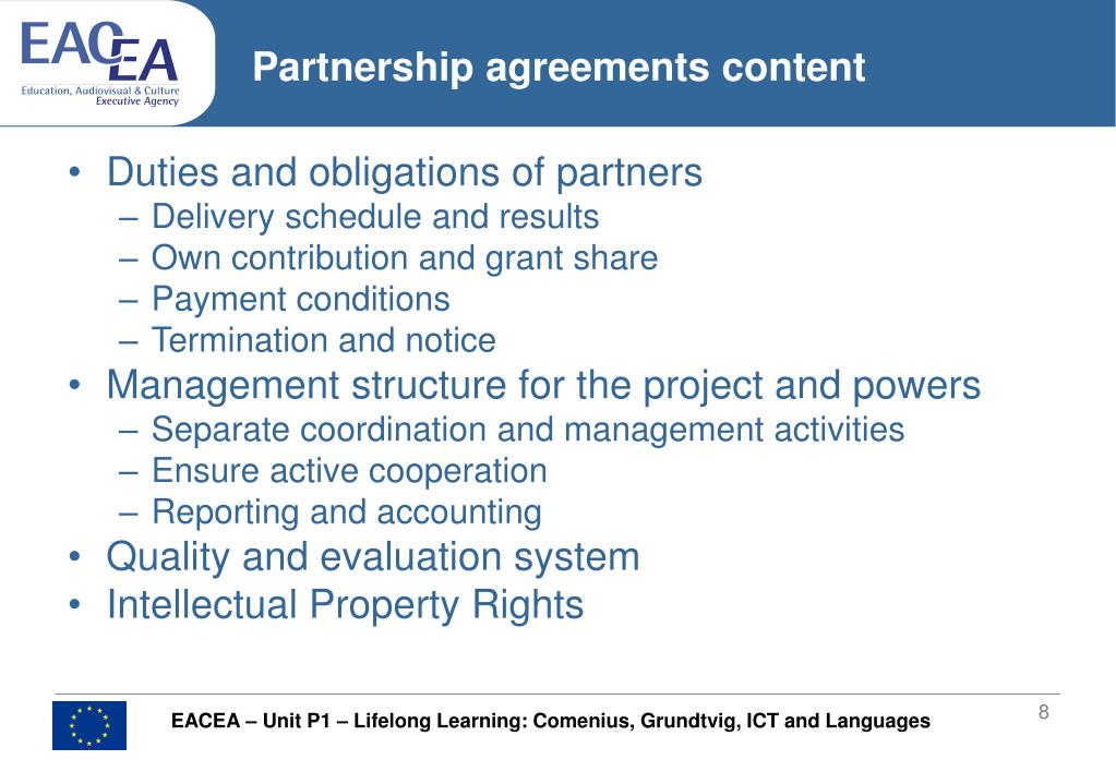 Partnership agreements content