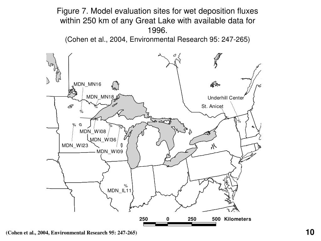 Figure 7. Model evaluation sites for wet deposition fluxes within 250 km of any Great Lake with available data for 1996.