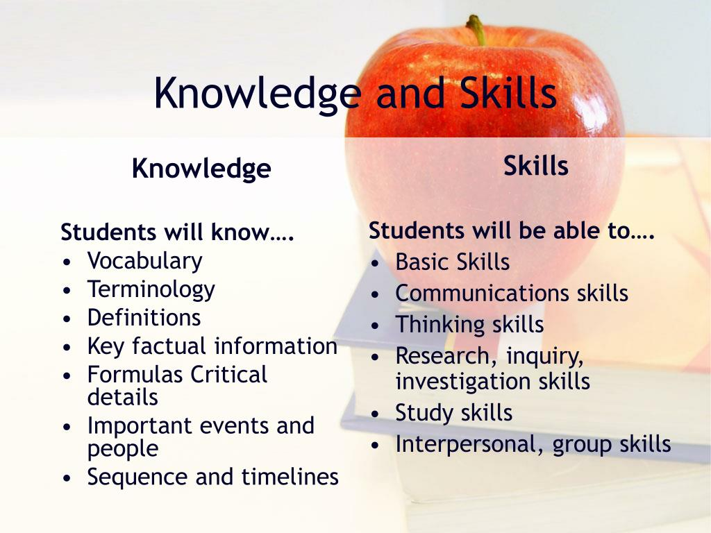 knowledge and skills This is a key difference between knowledge and skill a 'skill' means that you are  able to do something of course, there are different levels of skill and practice is.