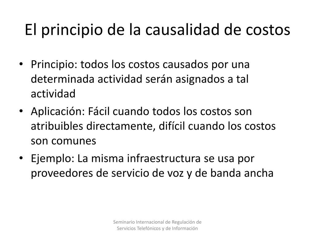 El principio de la causalidad de costos