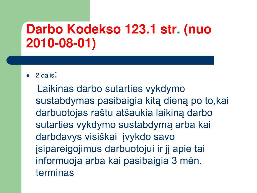 Darbo Kodekso 123.1 str