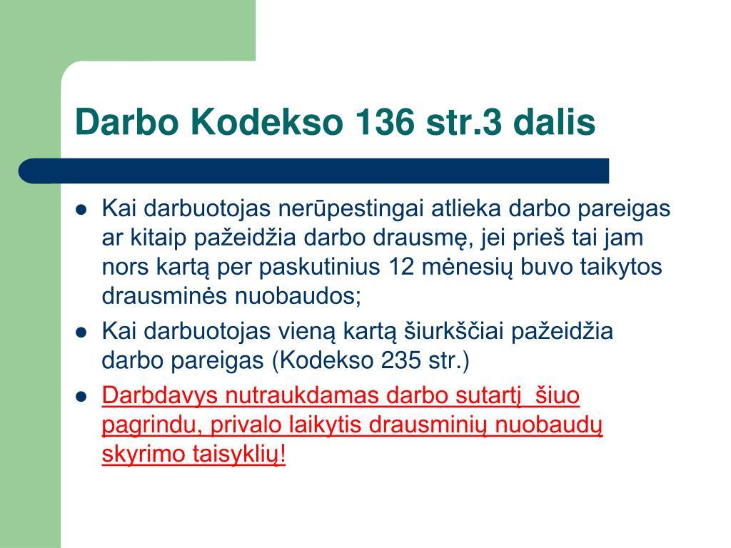 Darbo Kodekso 136 str.3 dalis