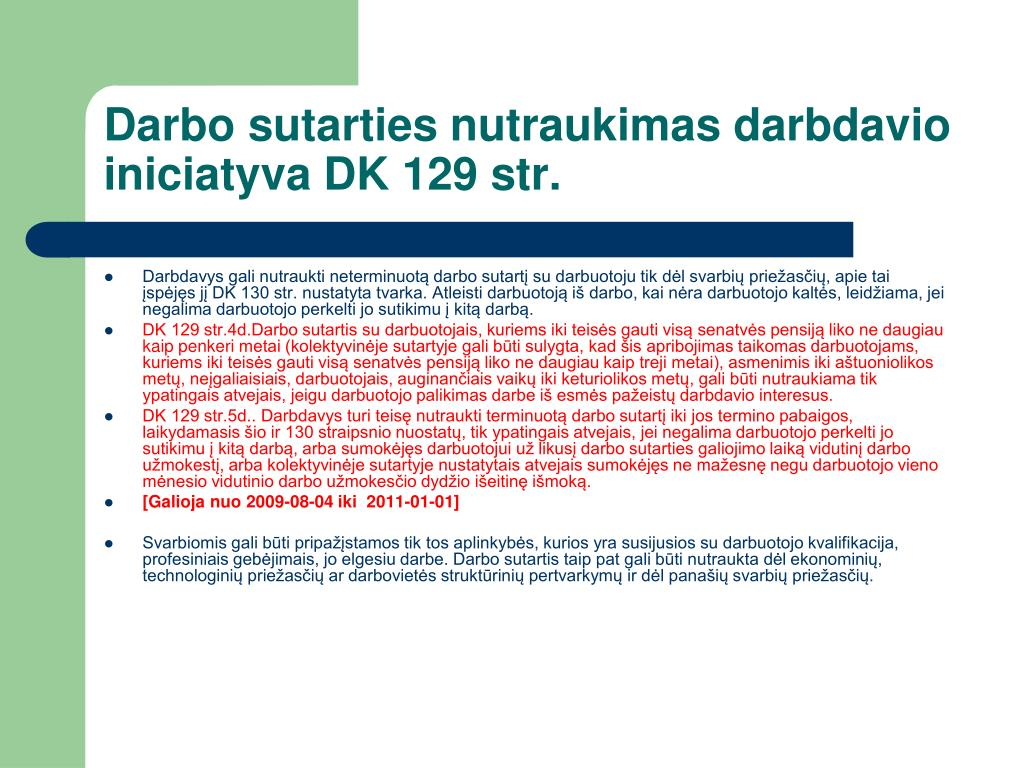 Darbo sutarties nutraukimas darbdavio iniciatyva DK 129 str.