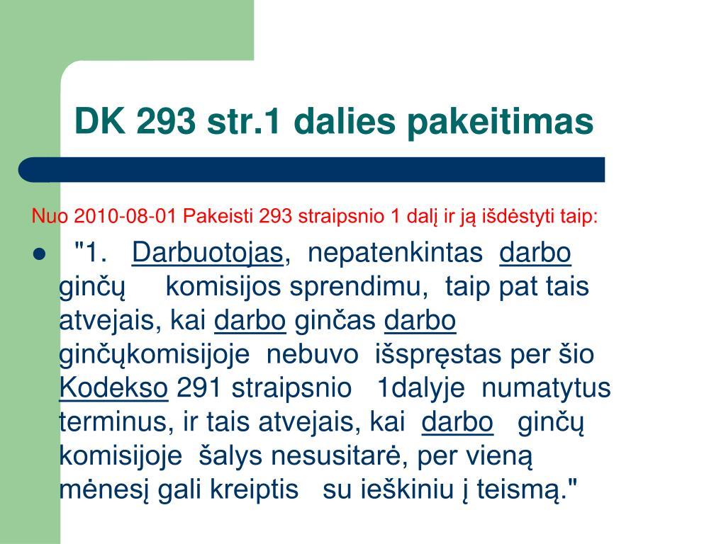DK 293 str.1 dalies pakeitimas