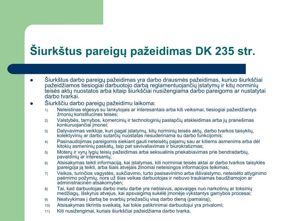 Šiurkštus pareigų pažeidimas DK 235 str.