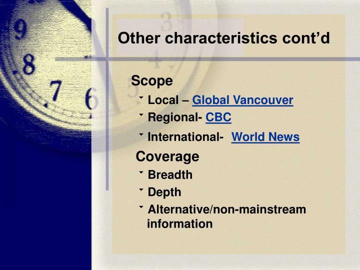 Other characteristics cont'd